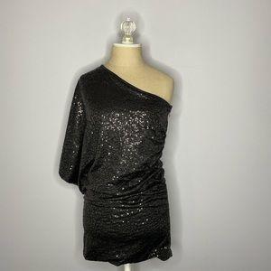 black formal sequins one shoulder dress